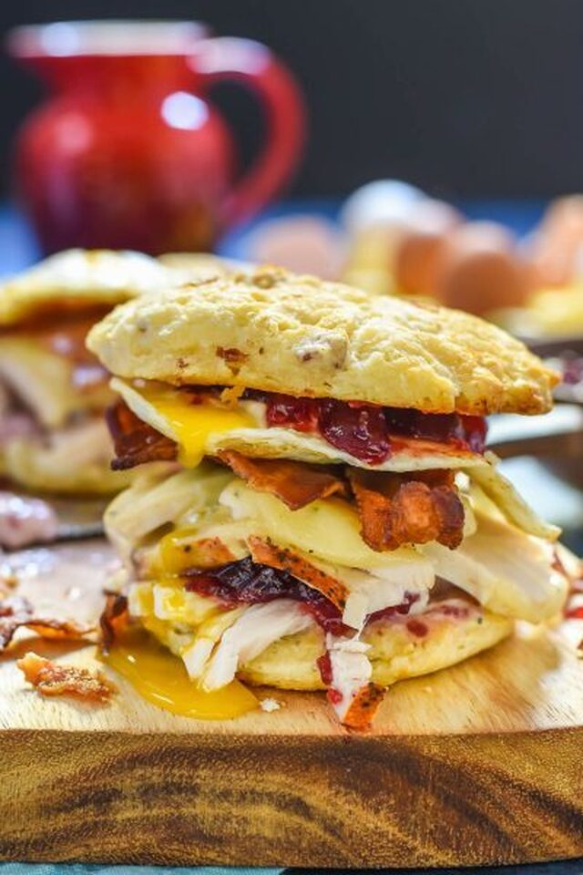Turkey, Bacon, and Egg Breakfast Sandwich with Cranberry Mayo