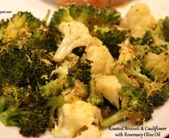 Roasted Broccoli and Cauliflower with Rosemary Olive Oil