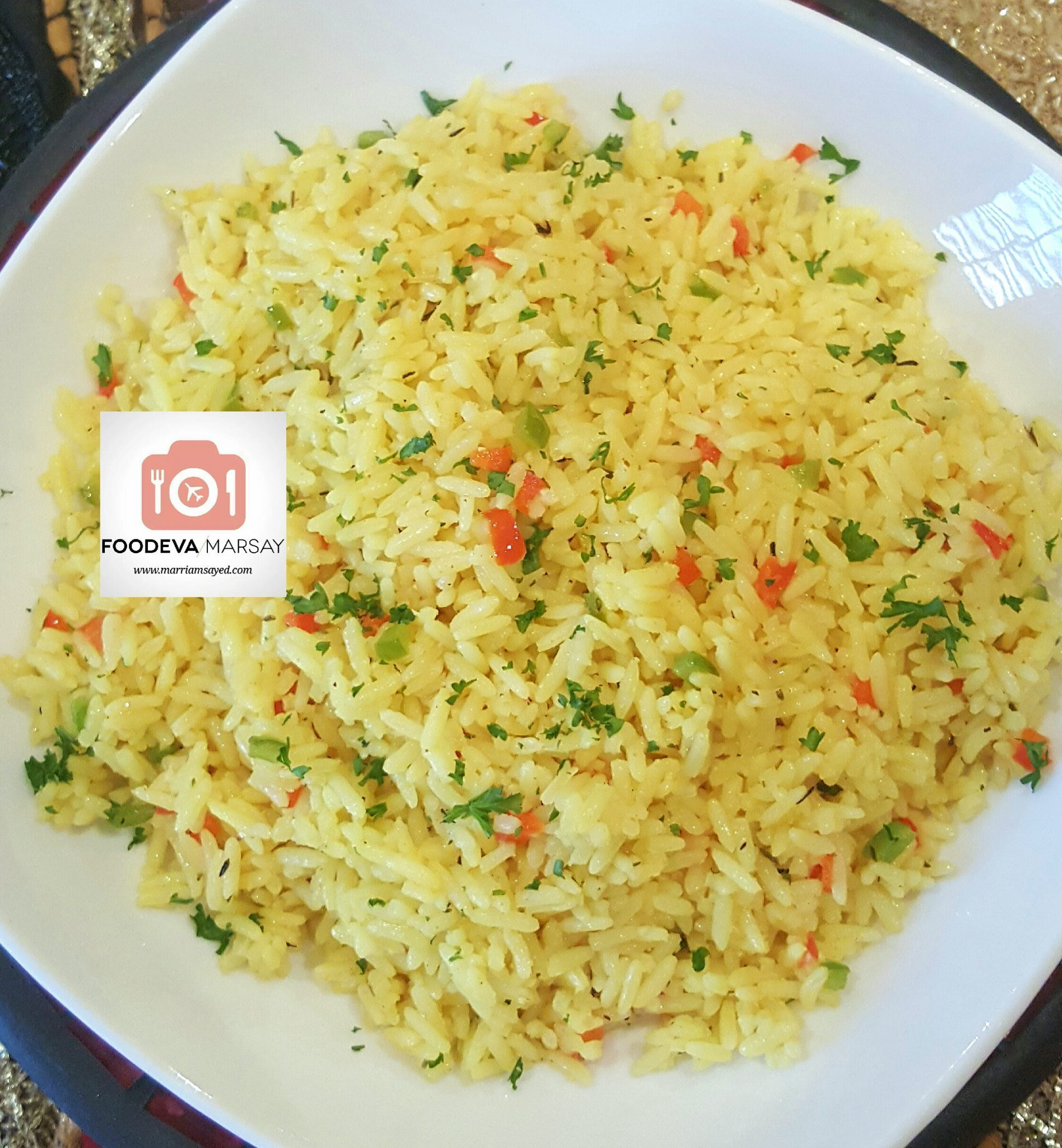Savoury Rice with Garlic,Onions and Peppers