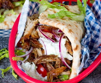 Pork Gyros with Tzatziki and Sweet Chili Sauce