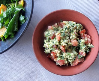 Walnut Guacamole and Spinach and Orange Salad