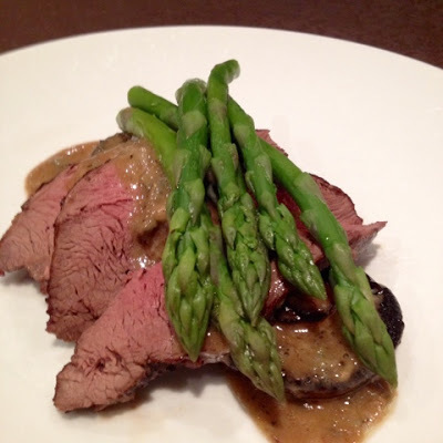 The Roast - Rare Roast Beef on Baked Mushrooms with Sherry Blue Cheese Sauce and Asparagus