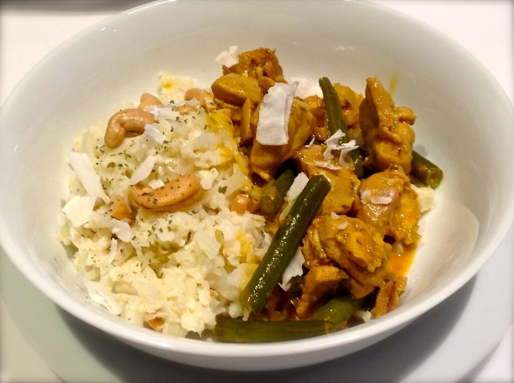 Chicken Coconut Curry with Coconut Cashew Cauliflower Rice