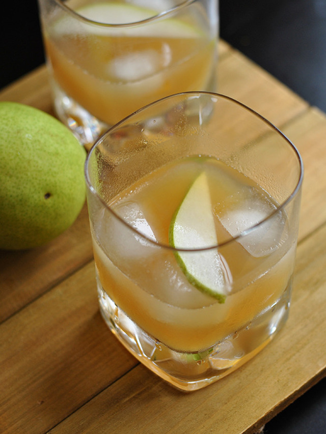 Bourbon and Pear Cocktail with Maple Ginger Syrup