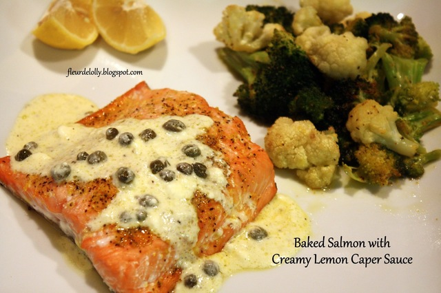Baked Salmon with Creamy Lemon Caper Sauce