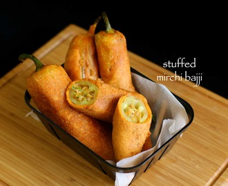 stuffed mirchi bajji recipe | stuffed menasinakai bajji | milagai bajji recipe
