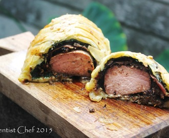 Recipe Perfect Beef Wellington or Boeuf en Croute ( Puff Pastry Wrapped Beef Tenderloin with Morel-Black Chanterelle & Porcini-Shiitake Mushroom Duxelle, Prosciutto & Foie Gras Stuffing)