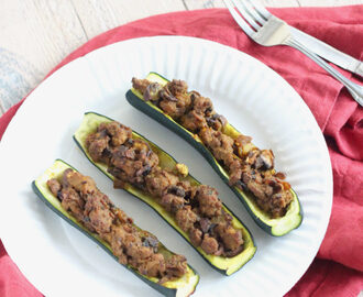 Curry Lamb Stuffed Zucchini
