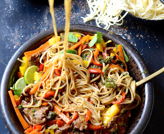 dianne wrote a new post, Spicy beef stir fry with sweet peppers and mango, on the site bibbyskitchenat36.com