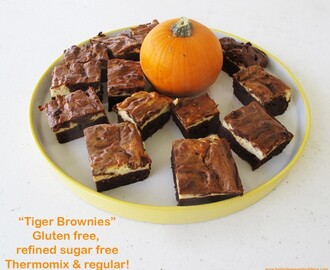 "A sugar & gluten free halloween? Try these ""Tiger Brownies"" for a not so sweet treat"