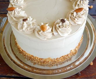 Vanilla Layer Cake with Almond Filling and Coffee Buttercream