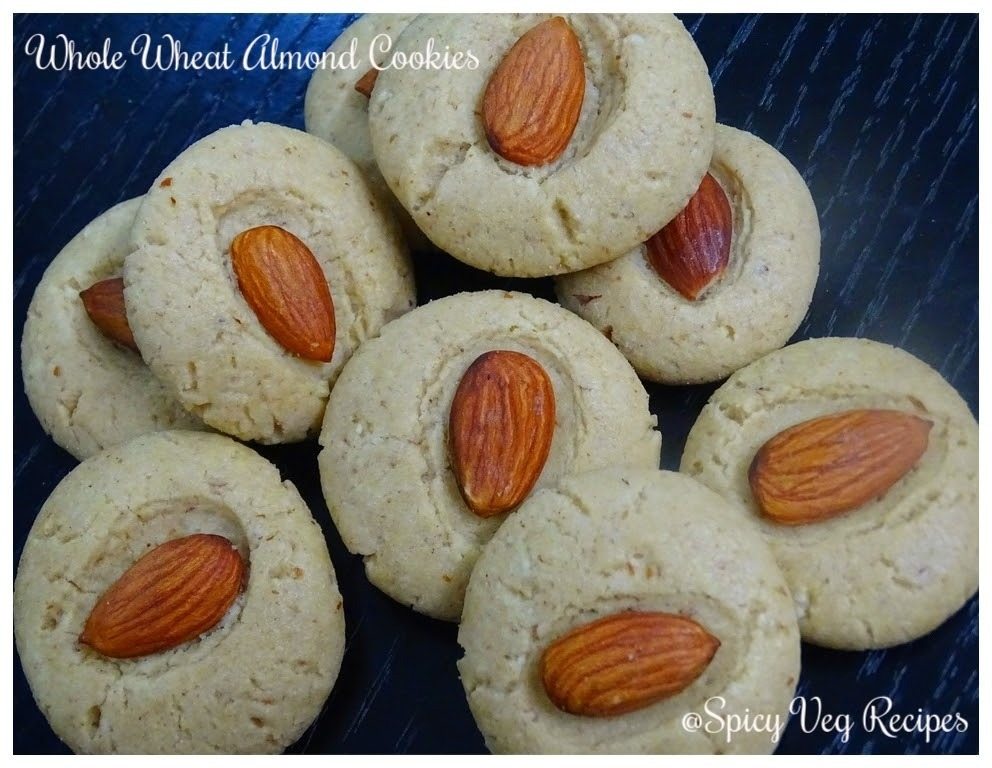 Egg less whole wheat almond cookies recipe (Step by step with photo)
