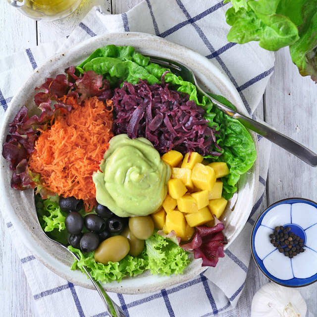 Rainbow Salad with creamy Avocado Dressing