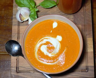 Roasted Red Pepper, Tomato and Basil Soup