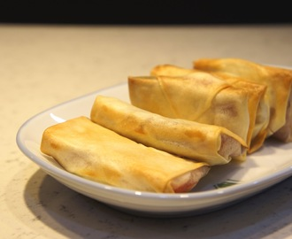 Air-fried Nian Gao and Sweet Potatoes in Springroll Pastry 番薯年糕春卷