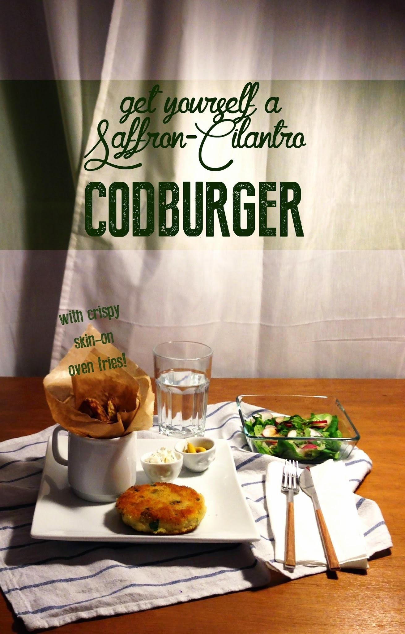 fish and chips? { codfish burger with cilantro and red saffron }