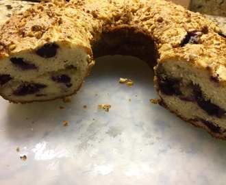 Blueberry, pecan,  sour cream coffee cake
