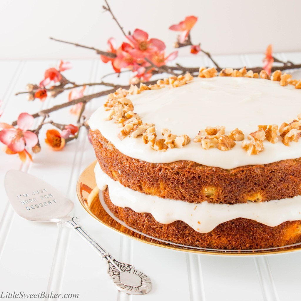 Healthy Carrot Cake with Yogurt Cream Cheese Frosting (video)