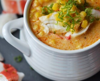 Cajun Lime Corn Chowder with Crab