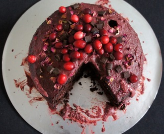 Vegan chocolate cranberry layer cake with a cranberry ganache icing