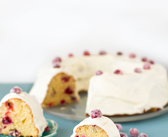 Candied cranberry cake with cream cheese frosting