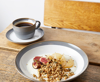 Yogurt Breakfast Bowl with Poached Pears, Figs, Granola and Salted Caramel Sauce