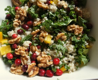 Barley salad with kale, walnuts, cranberries and an orange-maple dressing