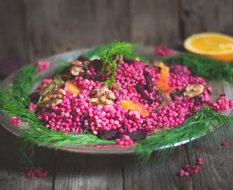 Perl Couscous mit Rote Bete, Walnuss und Orange