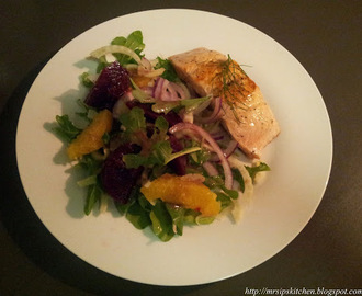 Seared Salmon with Orange, Fennel & Beetroot Salad