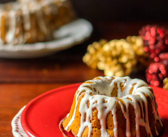 Clean eating gingerbread cake recipe with coconut maple glaze