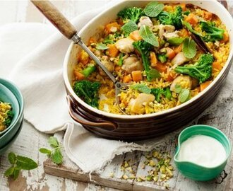 Persian rice baked with chicken, kumara and broccolini recipe