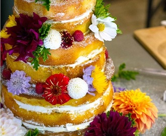 Naked Wedding Sponge Cake with Passionfruit Curd and Fresh Cream