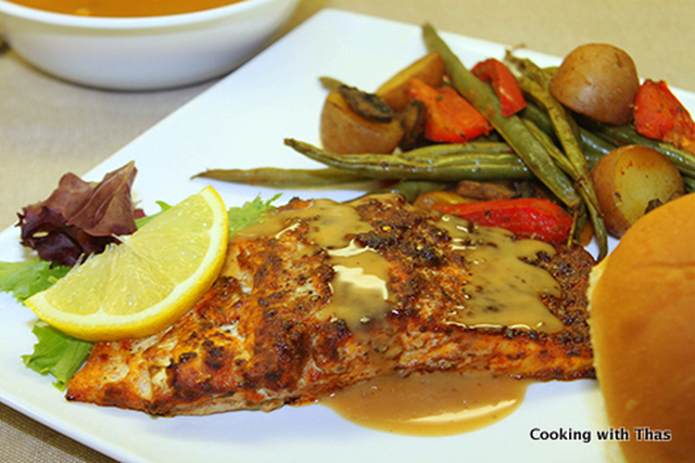 Baked Salmon and Roasted Veggies- Healthy Dinner