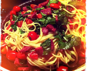 SALAMI, CHERRY TOMATOES AND ROCKET PASTA – THE RECIPE