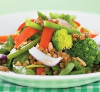 Lentil, vege and tuna salad