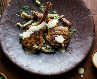 Spiced lamb with dates, feta & tahini