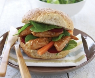 Sweet and sour sesame chicken burgers