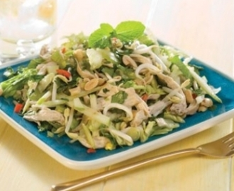 Asian-style poached chicken salad