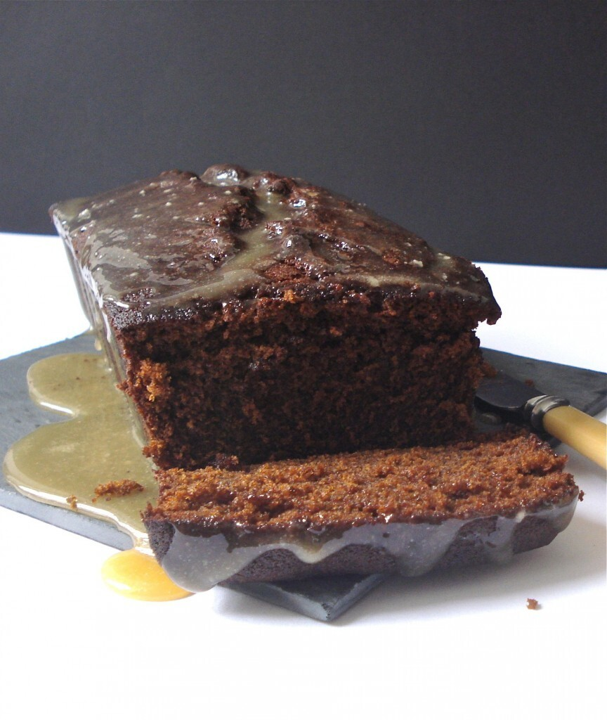 Ginger loaf cake with rum caramel