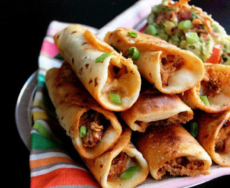 Quick and Easy Roasted Chicken Flautas with Bacon Guacamole