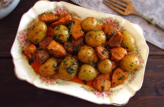 Fried pork with potatoes