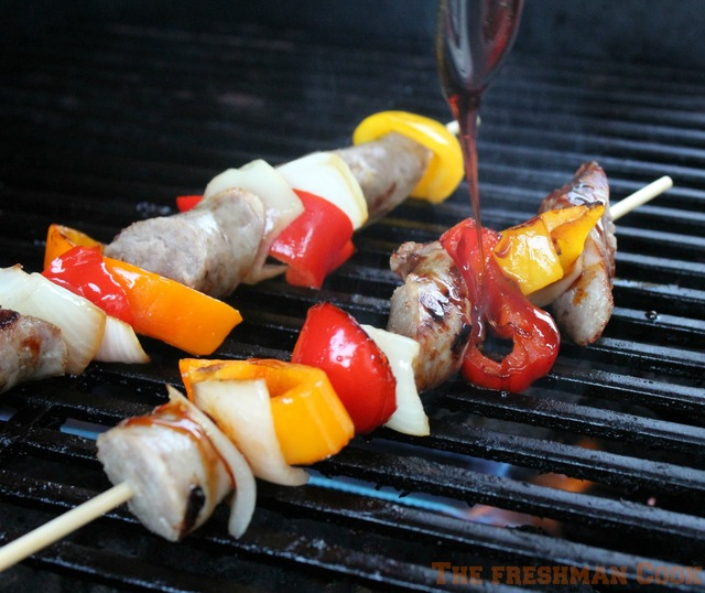 Sausage, Pepper, and Onion Kabobs w/ a Boiled Cider Drizzle / #SundaySupper