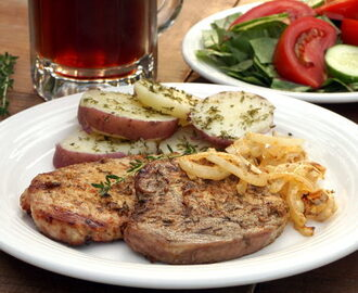 Schwenkbraten (Grilled German Pork Chops) #SundaySupper