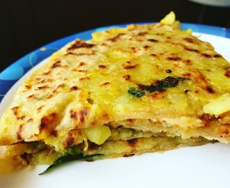 Potatoes and peas paratha