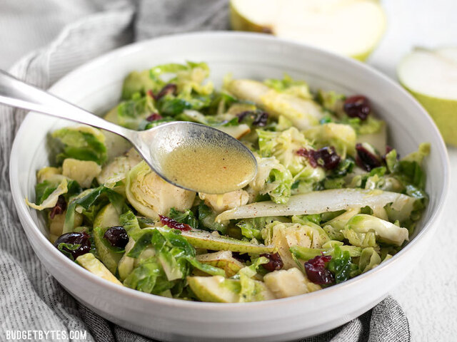 Warm Brussels Sprouts and Pear Salad