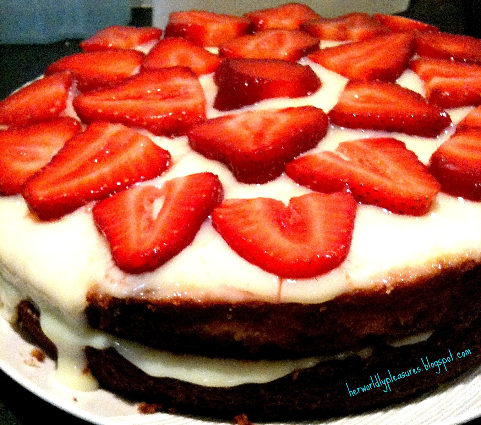 Strawberry Sponge Cake with Vanilla Custard