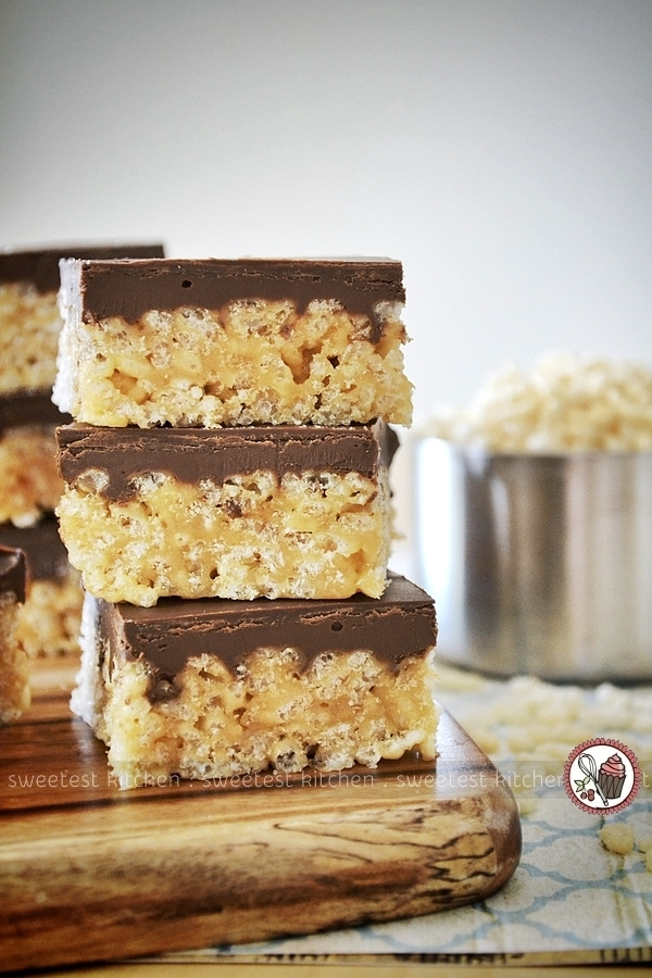 Healthier Chocolate & Peanut Butter Rice Krispies Treats