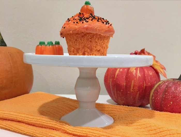 Cake Mix Bright Orange Halloween Cupcakes