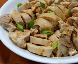 poached chicken with miso recipe