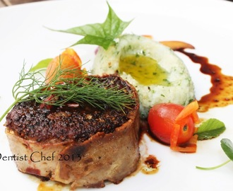 Filet Mignon Recipe with Wagyu Tenderloin Truffle Mashed Potato and Reduced Red Wine Demi Glace Sauce